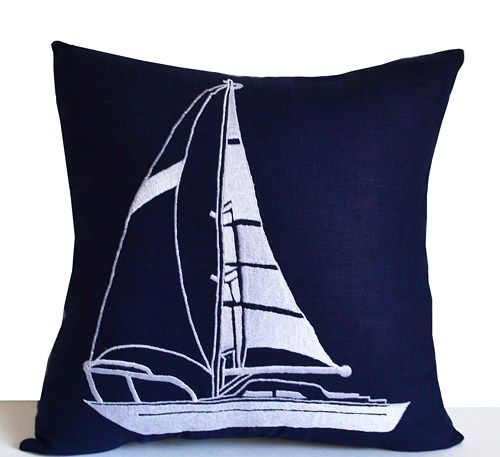 Decorative throw pillow with yacht embroidered in white. This boat pillow case is made on navy blue linen cushion for nautical decor, beach decor, home decor, gift.   Details - INSERT NOT INCLUDED. Th