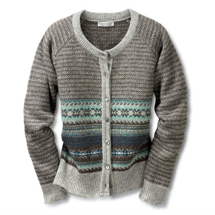 Eribé Damen- Strickjacke Fair Isle Grau/Mint | Strickwaren English: gray & mint Fair Isle sweater jacket
