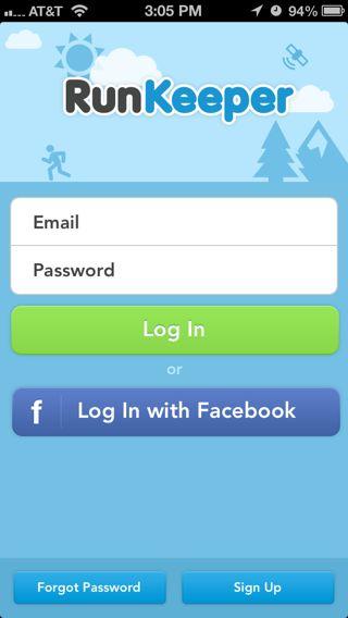 Runkeeper iPhone log in screenshot