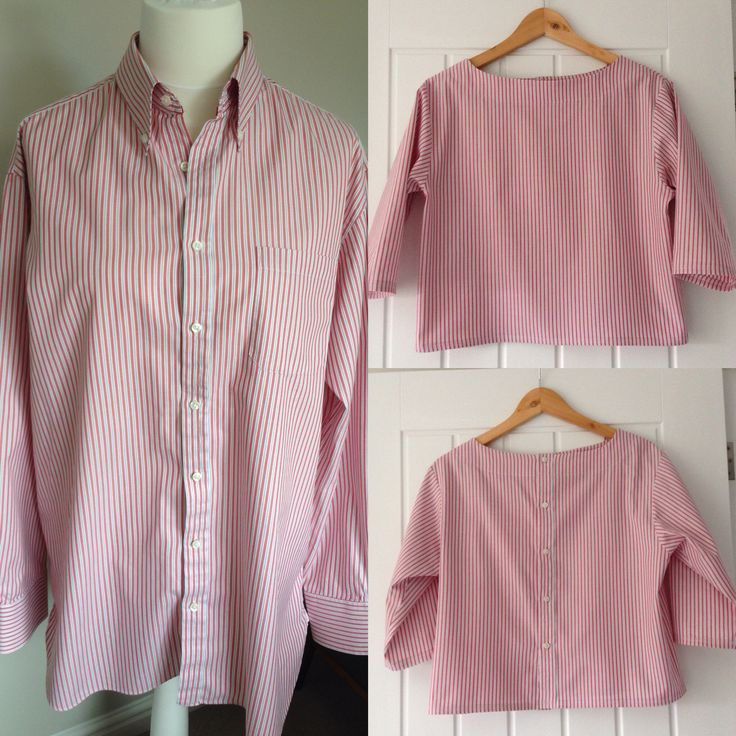 Man's shirt to summer top. Read the whole story at https://janemakes.wordpress.com/2015/07/29/the-first-refashion/ #getshirty #therefashioners2015