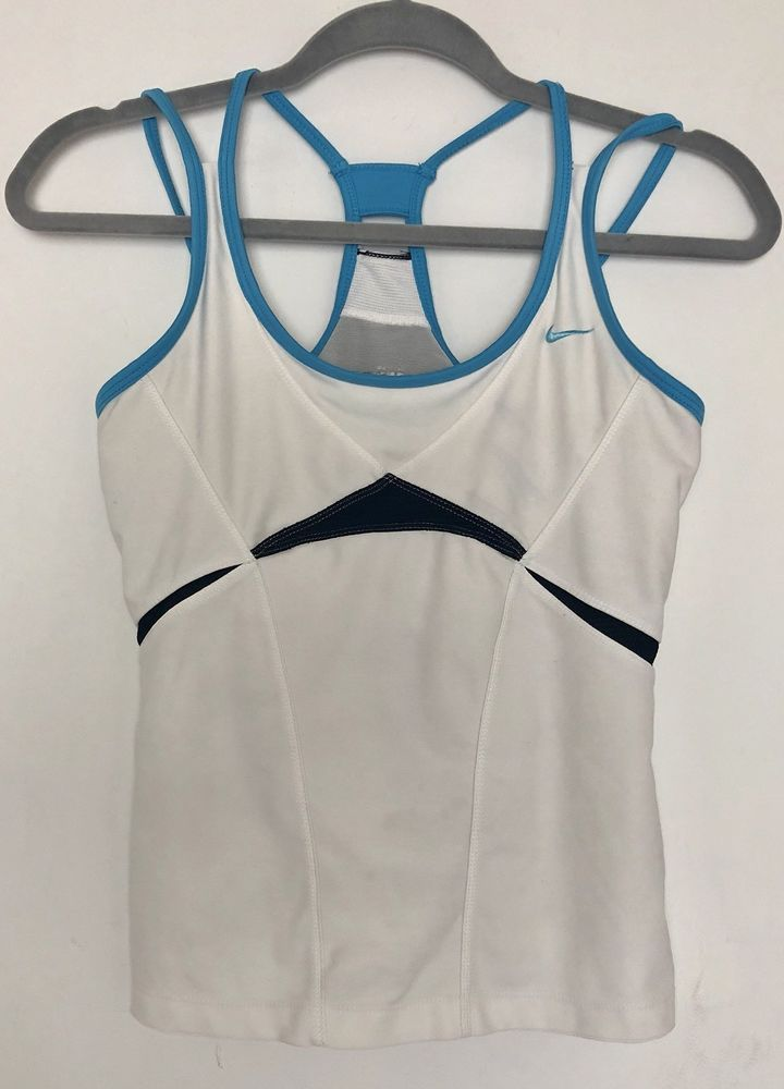 3870c5818105c Nike Dri Fit Women s White Blue Tank Top w  built in Bra size M ...