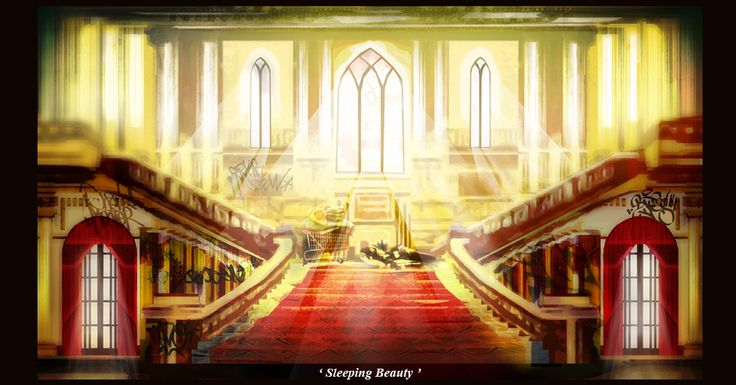 Sleeping Beauty, drawn and composited in Photoshop by layout artist Zach Evans (MAY 2017) Fairy Tales Art from Cloth Cat Animation: mansion, homeless, graffiti, poignant, abandoned, staircase