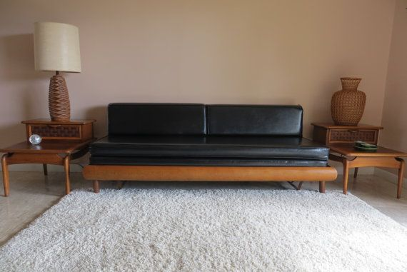 Mid Century Modern Danish Style Sofa Couch Daybed - Rollout Trundle Bed - Black on Etsy, $1,500.00