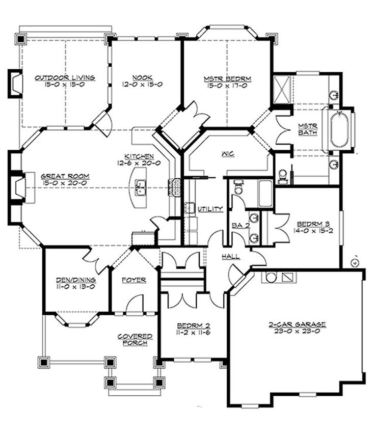 Craftsman Style House Plan - 3 Beds 2 Baths 2320 Sq/Ft Plan #132-200 Floor Plan - Main Floor Plan - Houseplans.com