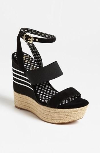 Fun! Jessica Simpson Striped Black Wedge Sandal (under $50)