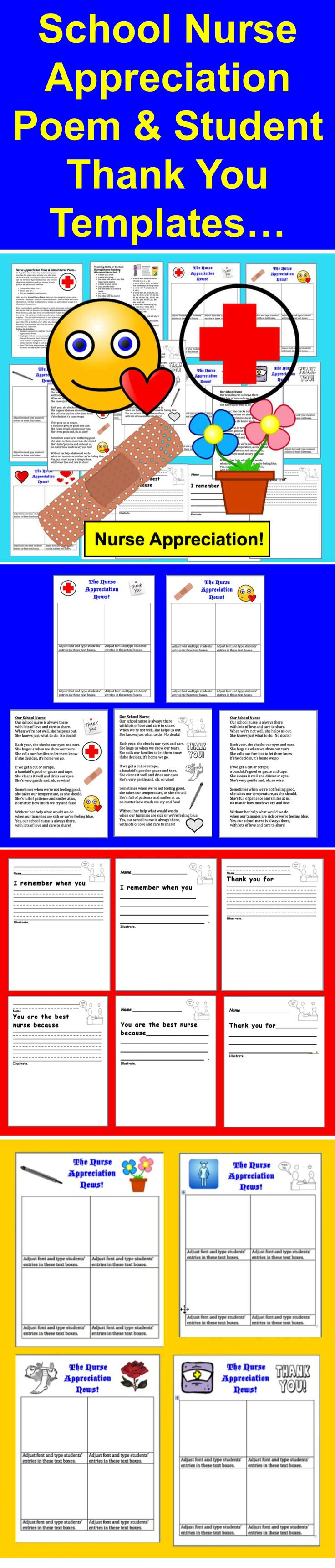 $ Nurse Appreciation News & School Nurse Poem… 19 Page Download - Use this student newspaper template for any writing activity year after year. I have included 3 writing prompt worksheets you can use for Nurse Appreciation Day. One version of each has plain lines and one version of each prompt has skip count baselines.