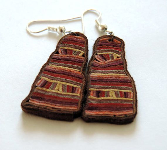 Original leather earrings modern art jewelry by TransylvanianTrove