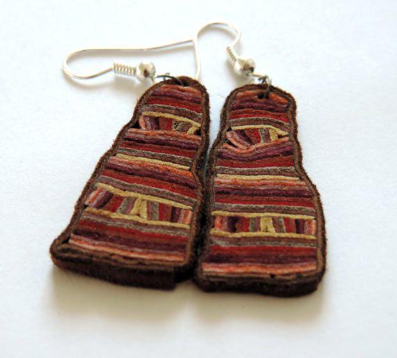 Original leather earrings modern art jewelry by TransylvanianTrove