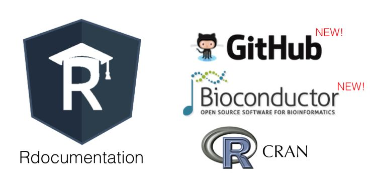 New! Search GitHub and Bioconductor packages on Rdocumentation. DataCamp, CRAN.