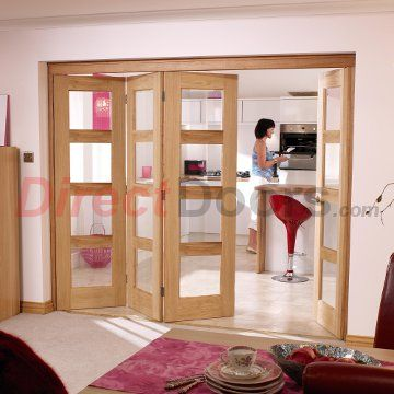 Image of Nuvu Oak Doors, Contemporary 4L Oak 4 Door Set 3 to Left - Clear Glass