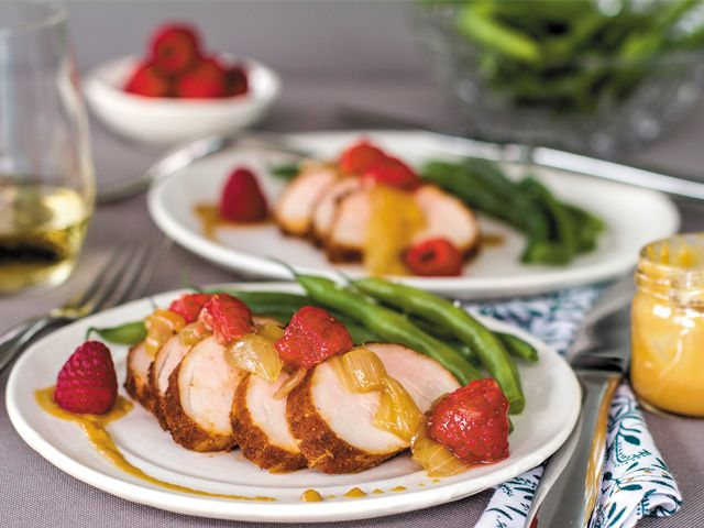 Roasted pork tenderloin with raspberry sauce: Drizzle a raspberry topping over your next pork roast to make it the star of the dinner table.