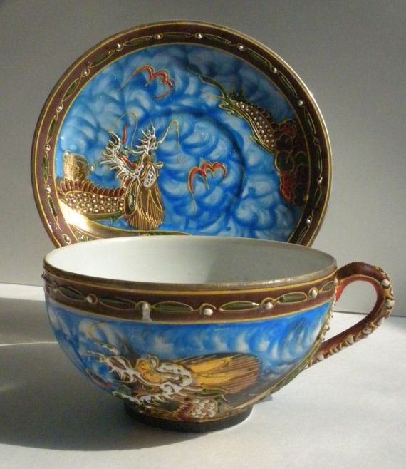 Vintage Moriage Dragonware Lithophane Tea Cup and by oldandnew8