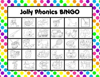 Jolly Phonics BINGO - A fun way to review the Jolly Phonics actions. 15 game boards and two sets of calling cards (action pictures or letters). Great activity for both small group or whole class!
