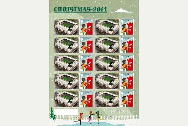 FIRST CLASS: Stoke City's Britannia Stadium on the special Christmas stamp.  Now .. I wonder I wonder who might appreciate a card this Xmas with one of these beauties stuck on the front ? !!
