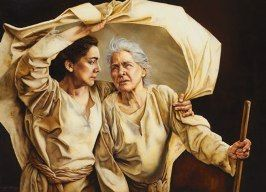 Ruth and mother-in-law Naomi by Sandy Freckleton Gagon. Ruth was a young Moabite widow who pledged her loyalty to her mother-in-law. Find her story in the Holy Bible.