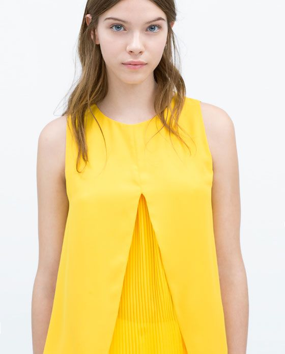 Image 2 of DOUBLE LAYER PLEATED TOP from Zara