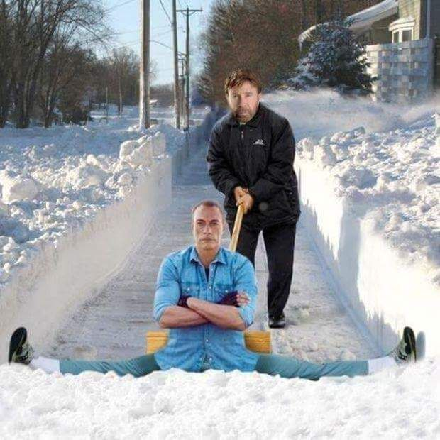 Chuck Norris and Jean-Claude Van Damme snow removal.