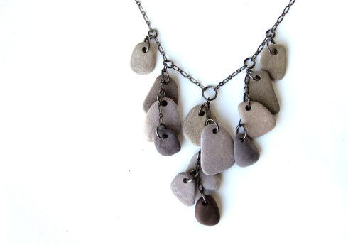 Natural beach stone necklace for lovers of lavender. (by Jenny Hoople of Authentic Arts)