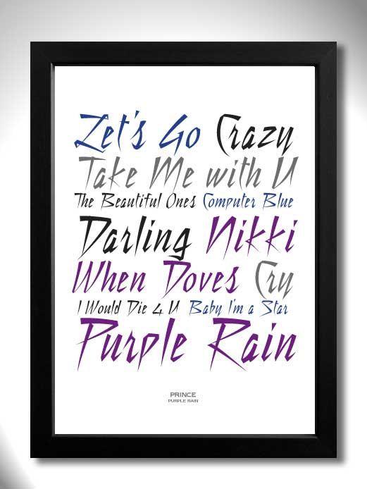 PRINCE PURPLE RAIN Album Limited Edition Unframed A4 Art