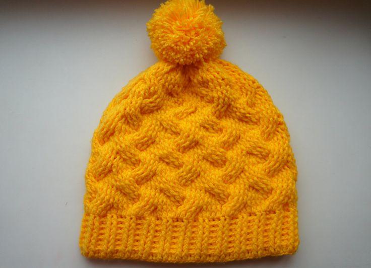 Вязаная шапка коса с тенью крючком