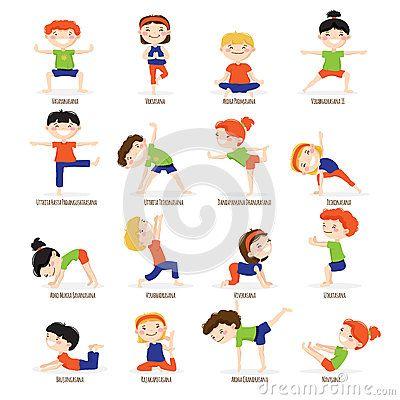 Vector Illustration about Kids Children Yoga Poses Cartoon Set.