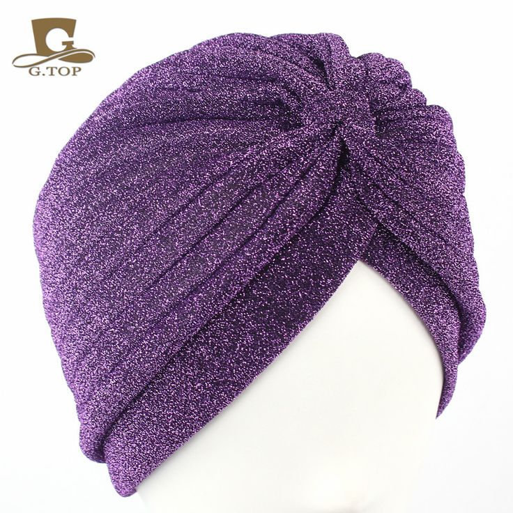 2016 New fashion Women Pink Gold Plain Shiny Shimmer Glitter Sparkly Indian Turban Hats Cap Muslim Hijab For Women G-348