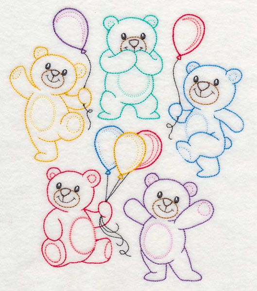 """Teddy Bear Party (Vintage)Product ID:K9216 Size:6.82""""(w) x 7.83""""(h) (173.2 x 199 mm)Color Changes:14 Stitches:12280Colors Used:14"""