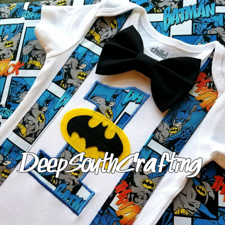 Batman super hero first second third birthday onesie bodysuit toddler shirt custom made bow tie suspenders. Great for DC super hero theme parties. Created by: DeepSouthCrafting