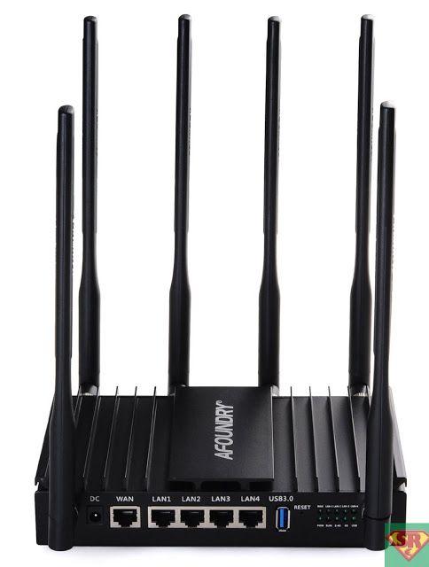 AFOUNDRY Dual Band Wireless AC Gigabit Router 6 antenne esterne tre processori Metallo Computer WiFi router Utilizzato in casa Enterprise Ville