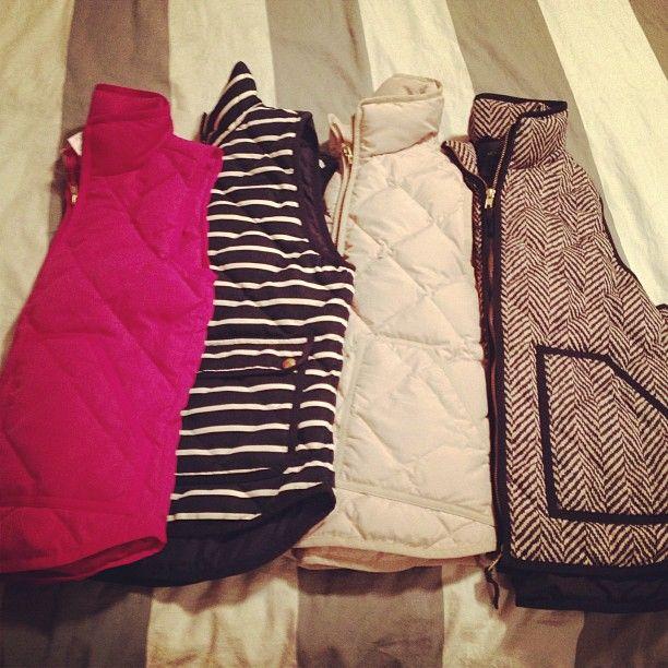 J. Crew Winter Vests. I want them all.
