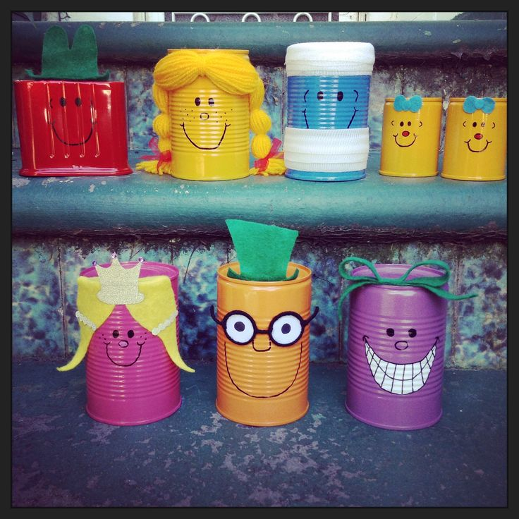 Mr Men & Little Miss upcycled tin can decorations