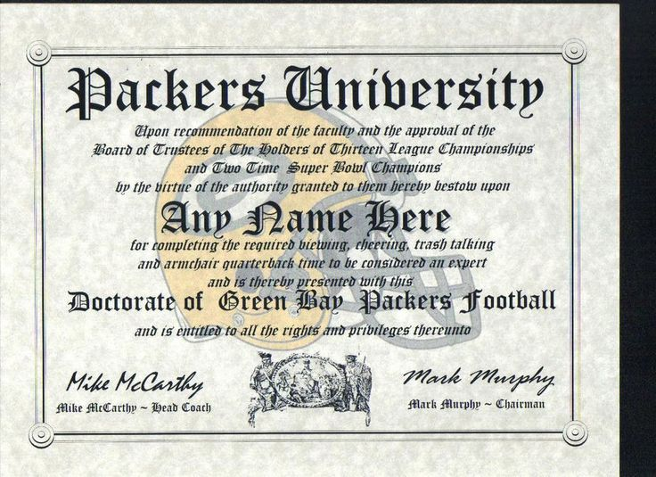 Packers Green Bay Fan Must Have   Certificate   Diploma   Man Cave   Office     from $10.99