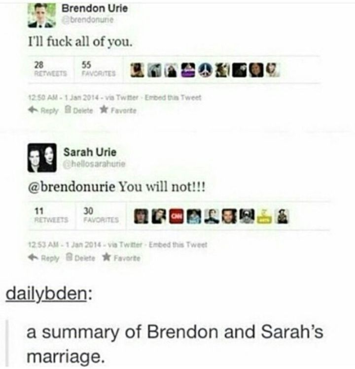Brendon and Sarah's marriage