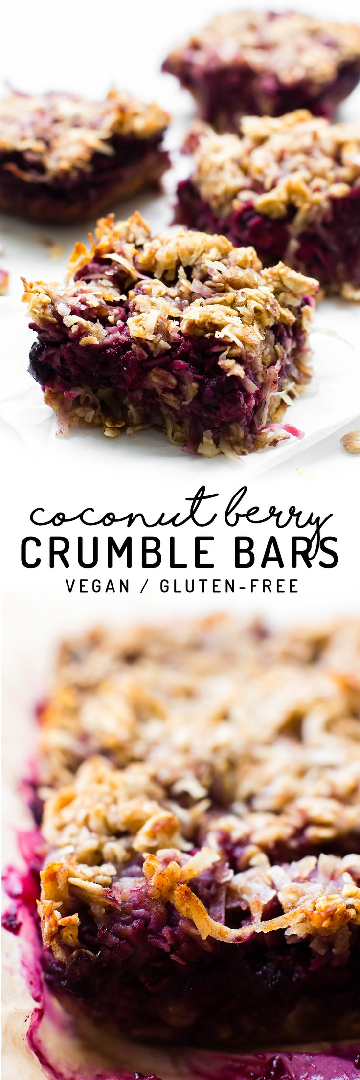 Mixed berries blanketed with oil-free oat streusel makes these Coconut Berry Crumble Bars an easy healthy snack or dessert with ice cream on top! Vegan, gluten-free, refined sugar-free.