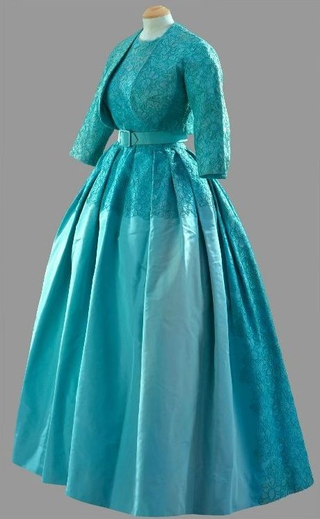 """Evening Dress, Norman Hartnell: 1960, ribbed silk and lace with bolero and belt. """"Worn by The Queen for the Marriage of Princess Margaret at Westminster Abbey, 6 May 1960."""""""