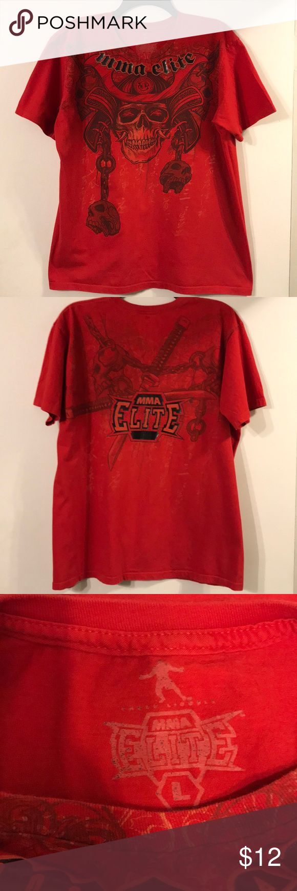 MENS MMA T-SHIRT Red MMA ELITE t-shirt with samurai skull on front and samurai swords on the back. Measurements: 27in long and 22in across chest. EUC MMA ELITE Shirts Tees - Short Sleeve