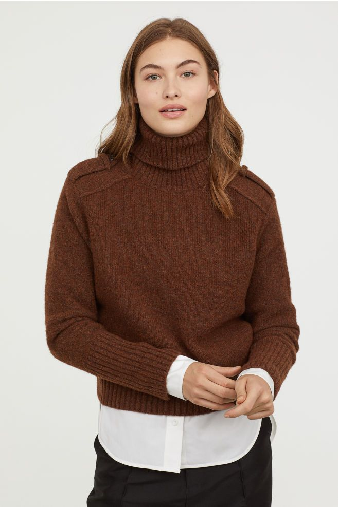 526c328077c Wool-blend Turtleneck Sweater - Dark brown melange - Ladies