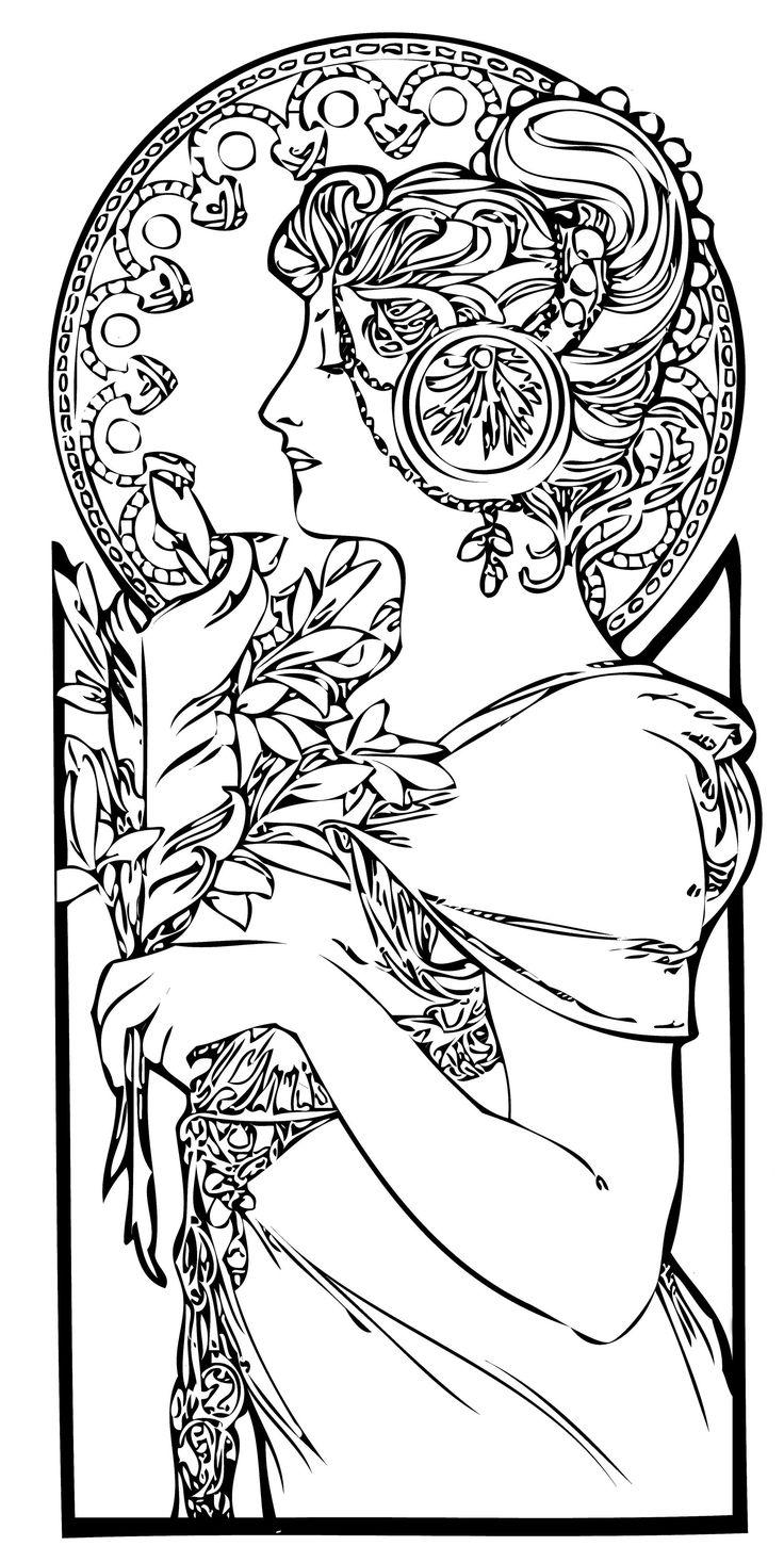 Art nouveau coloring pages art nouveau design line art