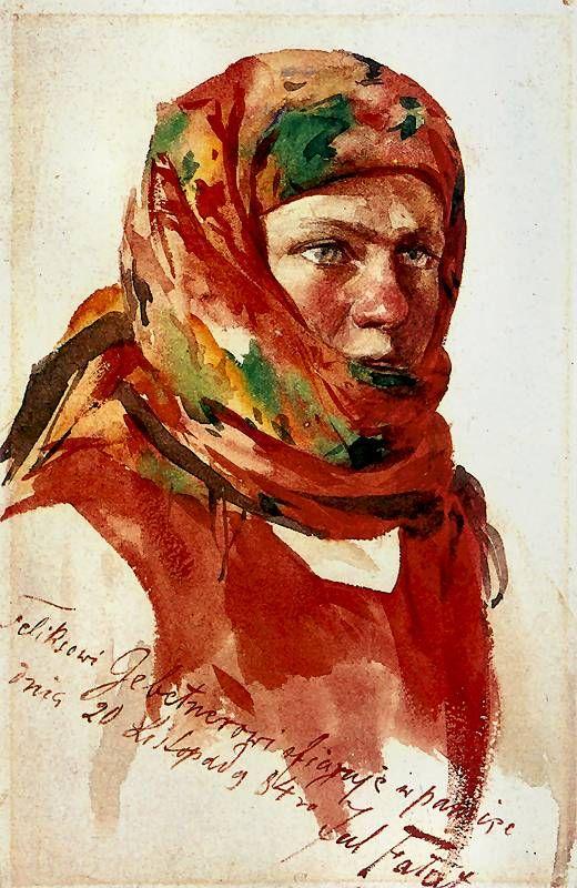 Julian Fałat, Dziewczyna w kwiecistej chuście / A Girl in Scarf, 1884, watercolour on paper, Muzeum Narodowe w Krakowie.