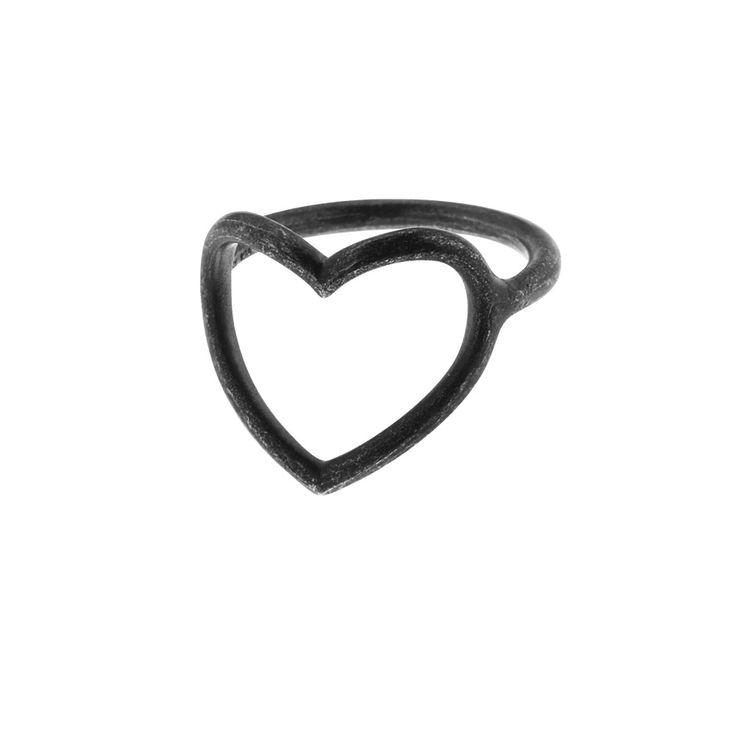 Oxidized sterling silver heart ring (Size 52-60) from By Malene Meden at Svane & Lührs. Worldwide shipping € 5: www.svane-luhrs.com.