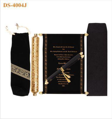 scroll wedding invitation from charu black gold with - Wedding Scroll Invitations