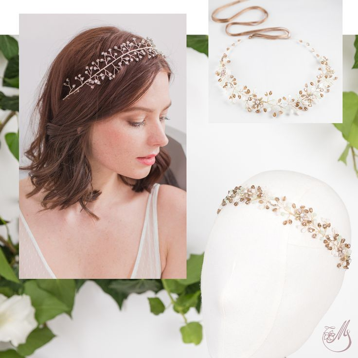 Arabella's Dream, a romantic #hairvine in which we've  put together Mint alabaster Swarovski beads and beige glass beads. #handmade #Meetmeinthegarden #capsulecollection #magnoliaatelier #loveitbeforeyouseeit