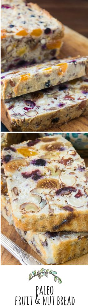 Paleo Fruit and Nut Bread:  I was skeptical about this gluten, dairy, and sugar free bread until I took my first taste --- it's AMAZING! - TVFGI ~ bananas, almond flour, eggs, coconut oil, dried fruits n nuts mmm