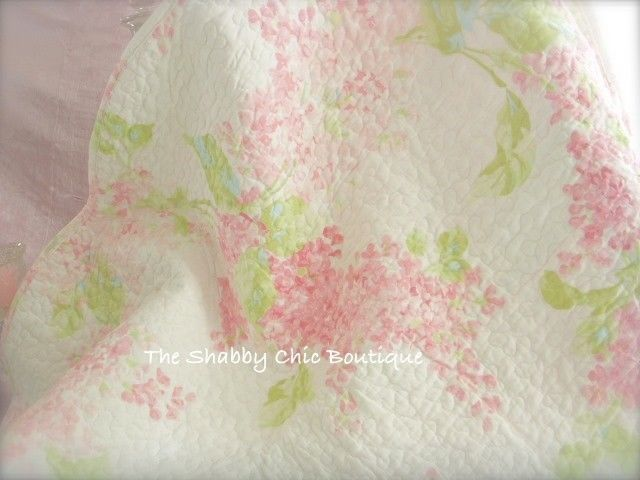 Pink Cottage Blossom Single Size Bed Quilt Set Shabby French Country Chic