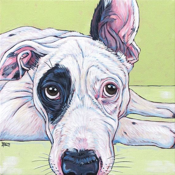 Custom Pet Portrait Painting on canvas in Acrylic of One Dog, Cat,  Other Pets Bull Terrier American Bulldog Mix Puppy Sample from Pet Portraits by Bethany on Etsy.