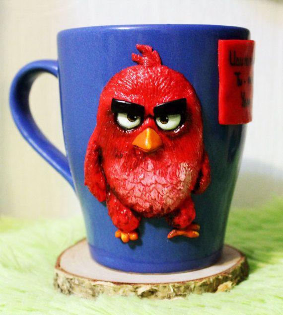 Red Angry Birds cup mug handmade mug decorative mug polymer