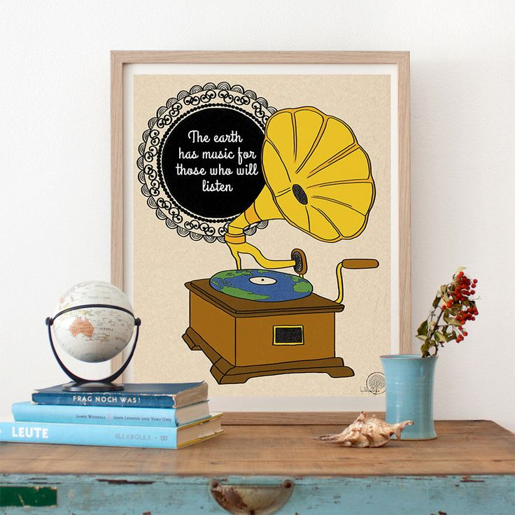 The earth has music for those who will listen inspirational quote print, vintage…