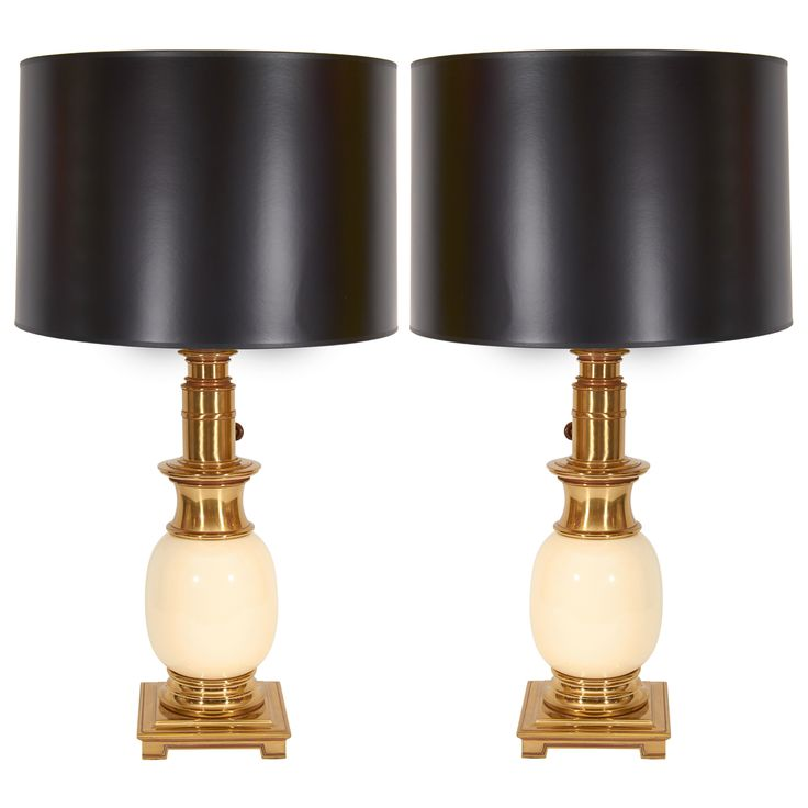 Pair of Stiffel Ostrich Egg Lamps | See more antique and modern Table Lamps at http://www.1stdibs.com/furniture/lighting/table-lamps