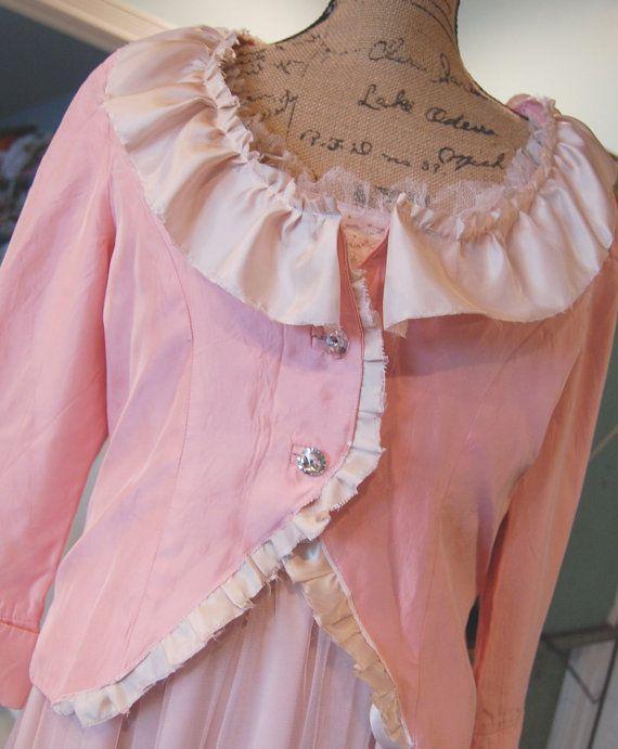 SALE Pink Taffeta Jacket Blazer Top Vintage door OfLinenandLace, $32.50
