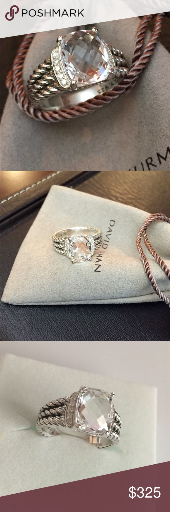 David Yurman petite Wheaton ring with white topaz Authentic David Yurman petite Wheaton ring with white topaz and diamonds 10x8mm size 6 no pouch Pouch sold separately gorgeous ring Sterling silver very rare color David Yurman Jewelry Rings